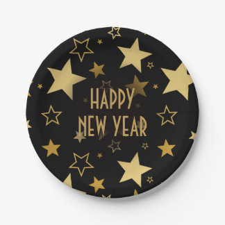 Happy New Year golden stars | party paper plate 7 Inch Paper Plate