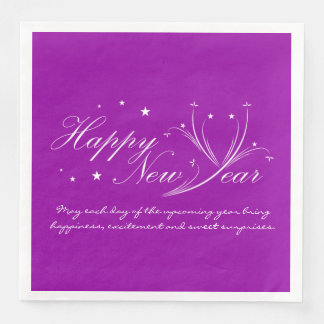 Happy New Year Gre Minimalist Custom Color Napkins Paper Napkins