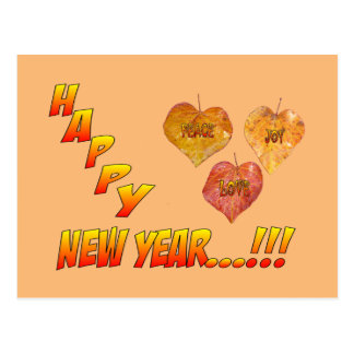 Happy New Year Heart Leaves Postcard