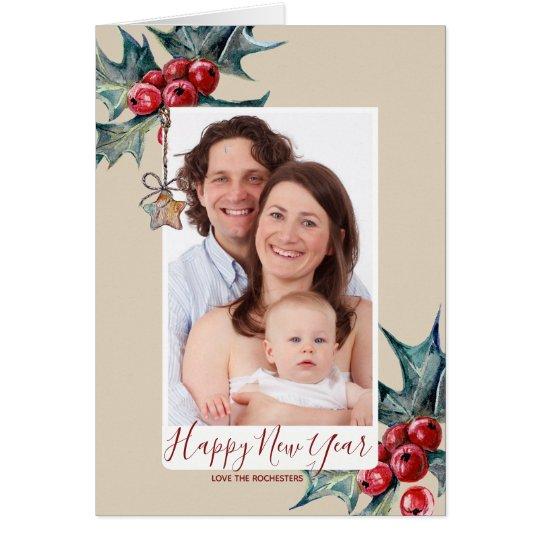 happy new year holiday photo card holly