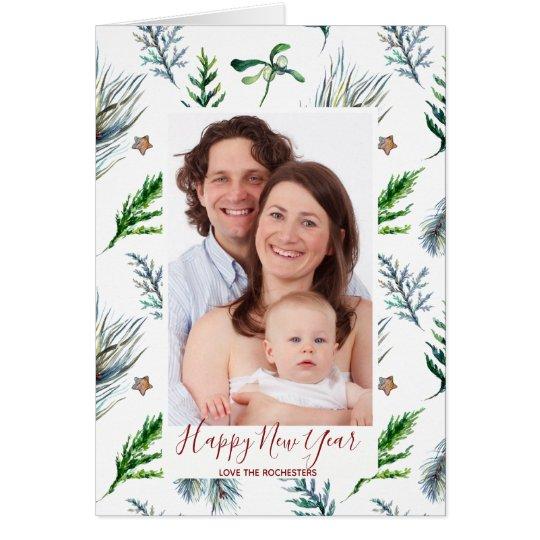 happy new year holiday photo card pine mistletoe
