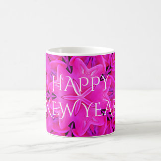 Happy New Year Hot Pink Kaleidoscope Design Floral Coffee Mug