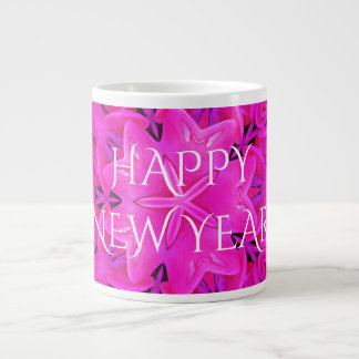 Happy New Year Hot Pink Kaleidoscope Design Floral Large Coffee Mug