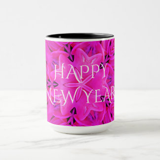Happy New Year Hot Pink Kaleidoscope Design Floral Mug