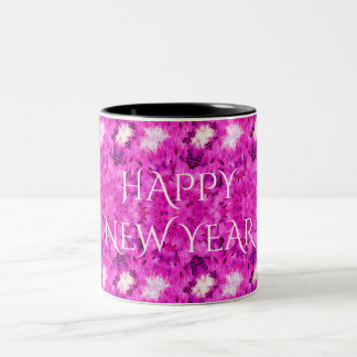 Happy New Year Hot Pink Kaleidoscope Design Floral Two-Tone Coffee Mug