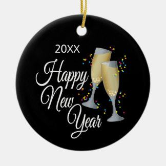 Happy New Year I Champagne Glasses and Confetti Ceramic Ornament