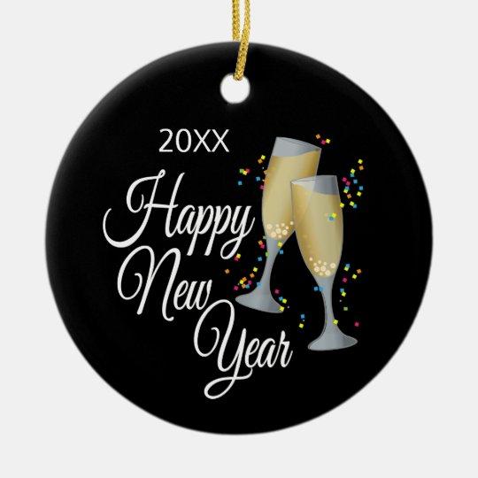 Happy New Year I Champagne Glasses and Confetti Ceramic Ornament
