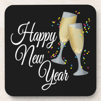 Happy New Year I Champagne Glasses Coaster