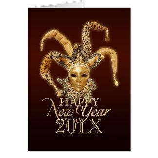 Happy New Year Jester Venetian Mask card