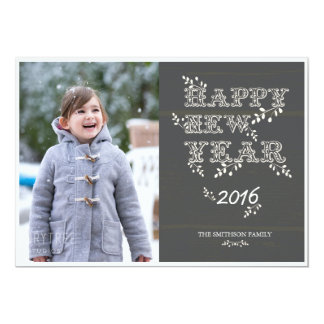 happy new year & leaves new year card
