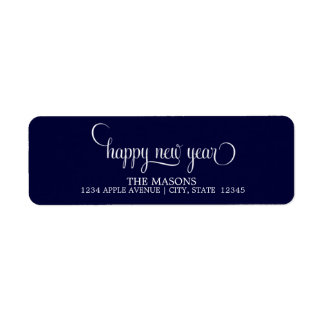 Happy New Year Lowercase Script | Dark Blue