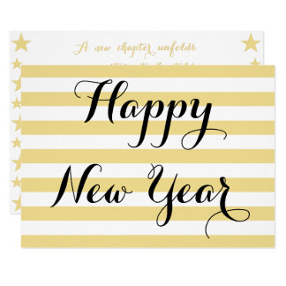 Happy New Year Modern Elegant Faux Gold Custom DIY Card