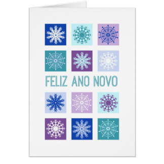 Happy New Year Modern Snowflakes Portuguese Greeting Card