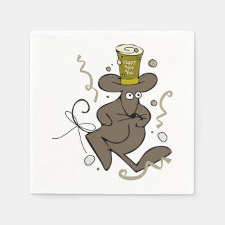 Happy New Year Mouse Paper Napkins