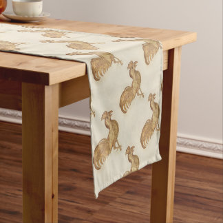 Happy New Year  of The Rooster 2017 Vintage Gold Short Table Runner