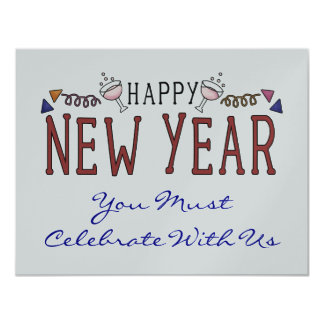 """Happy New Year Party / General Party 4.25"""" X 5.5"""" Invitation Card"""