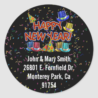Happy New Year Party Hats Classic Round Sticker