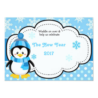 Happy New Year penguin 2017 Card