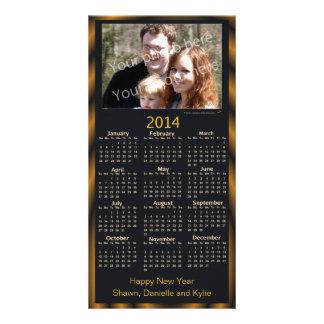 Happy New Year Photo 2014 Calendar Card Black Customized Photo Card