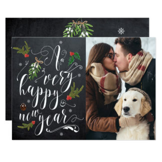 happy new year photo card typography