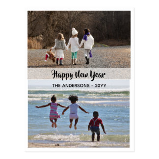 Happy New Year - PHOTO COLLAGE - Personalized 12 Postcard