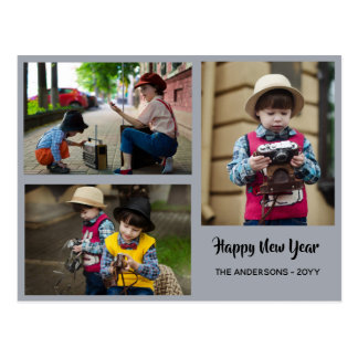 Happy New Year - PHOTO COLLAGE - Personalized 2018 Postcard