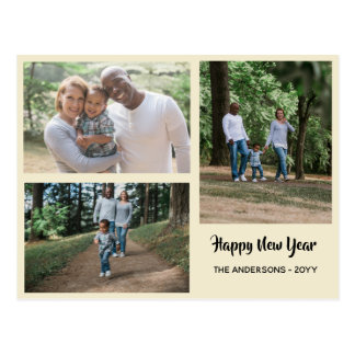 Happy New Year - PHOTO COLLAGE - Personalized Postcard