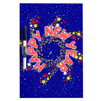 Happy New Year Pin Wheel Dry Erase Whiteboard