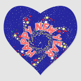 Happy New Year Pin Wheel Heart Sticker