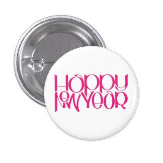 Happy New Year pink Round Button