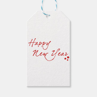 Happy New Year-Red Gift Tags
