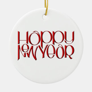 Happy New Year red Round Ornament