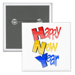 Happy New Year Red Yellow Blue Buttons