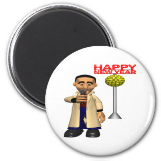 Happy New Year Reporter 2 Inch Round Magnet