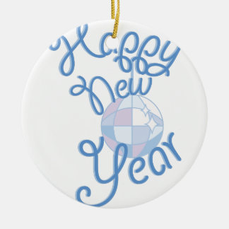 Happy New Year Round Ceramic Ornament