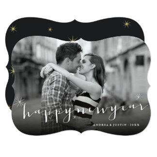 Happy New Year Script Starburst Holiday Photo Card