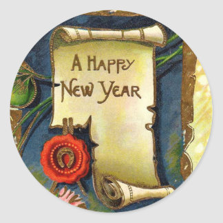 Happy New Year Scroll Classic Round Sticker