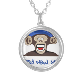 happy new year silver plated necklace