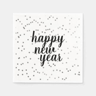 Happy New Year Silver Polka Dot Holiday Napkin