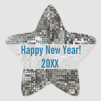 Happy New Year Silver Sequins Star Sticker