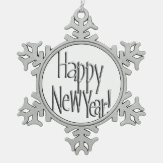Happy New Year - Silver Text Pewter Snowflake Ornament