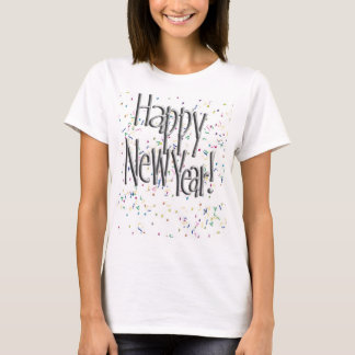 Happy New Year Silver Text T-Shirt