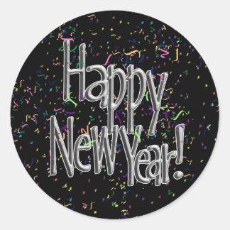 Happy New Year - Silver Text w/Black Confetti Classic Round Sticker