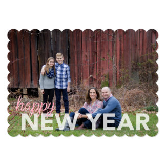 "Happy New Year simple, classic, flat photo card 5"" X 7"" Invitation Card"