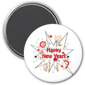 Happy New Year Smiley Splash 3 Inch Round Magnet