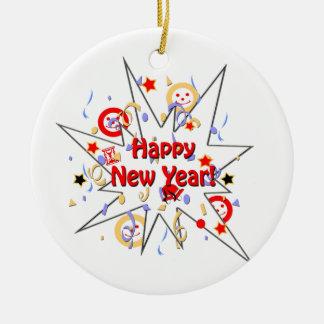 Happy New Year Smiley Splash Round Ceramic Ornament