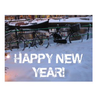 Happy New Year Snow Bicycles Postcard