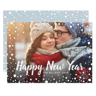 Happy New Year Snow Holiday Greeting Photo Card