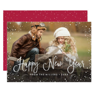 Happy New Year Snow Photo Card