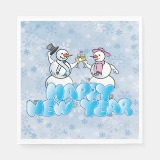 Happy New Year Snowman Disposable Napkins